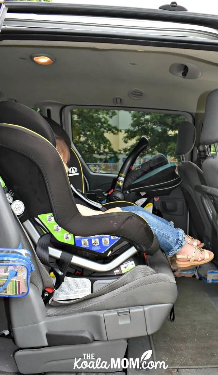 Britax Emblem convertible car seat installed in a minivan.
