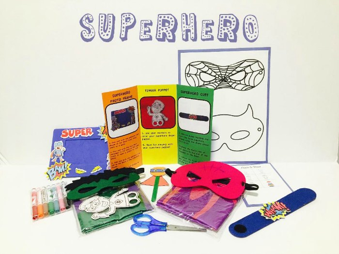 Superhero themed FUNvelope, a kids craft activity envelope