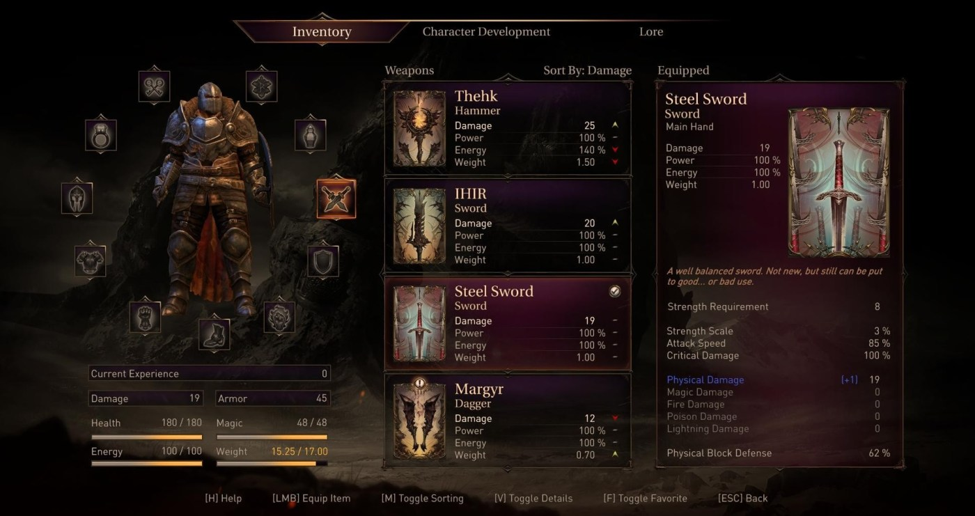 The inventory screen is full of loot and options.