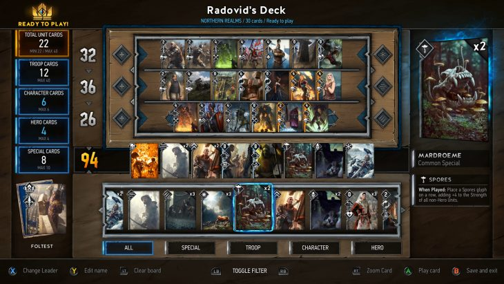 Gwent: The Witcher Card Game deck buider