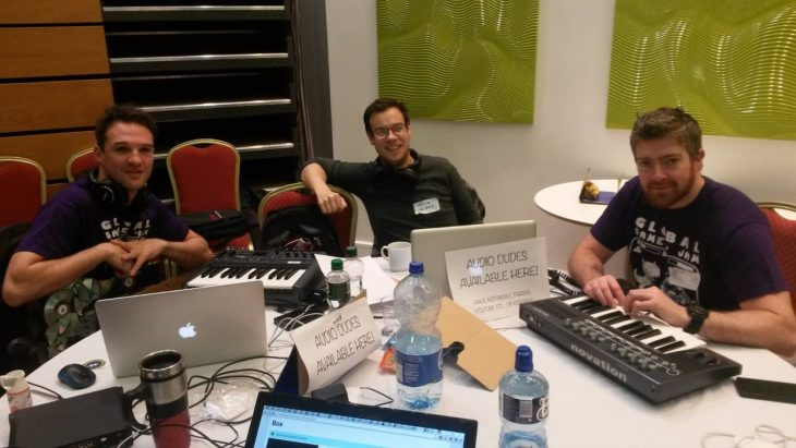 A picture of sound engineers at a game jam