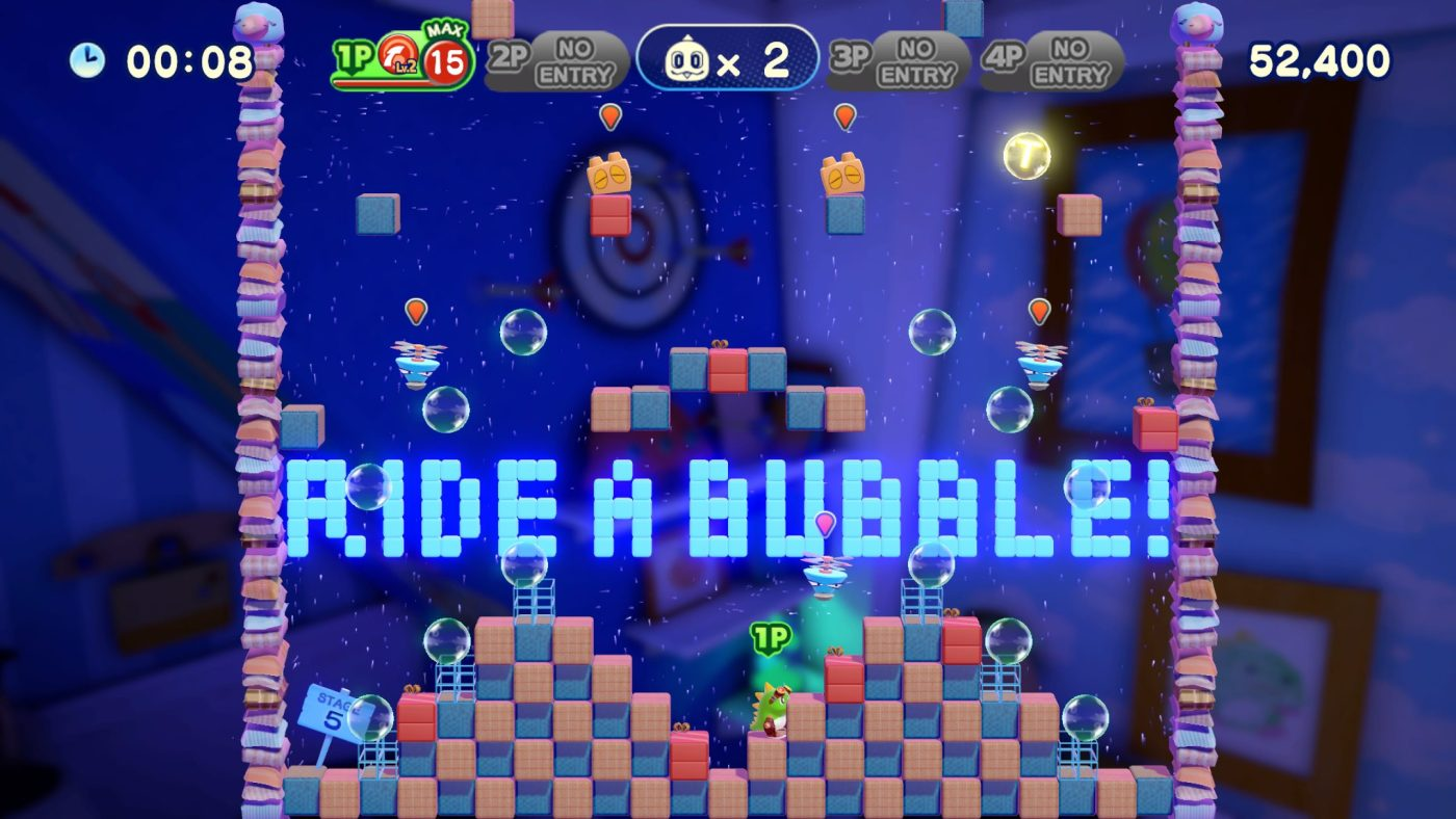 A screenshot taken from Bubble Bobble