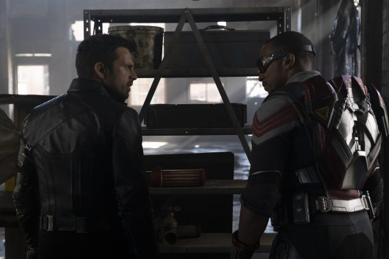 (L-R): Winter Soldier/Bucky Barnes (Sebastian Stan) and Falcon/Sam Wilson (Anthony Mackie) in Marvel Studios' THE FALCON AND THE WINTER SOLDIER exclusively on Disney+. Photo by Chuck Zlotnick. ©Marvel Studios 2020. All Rights Reserved.