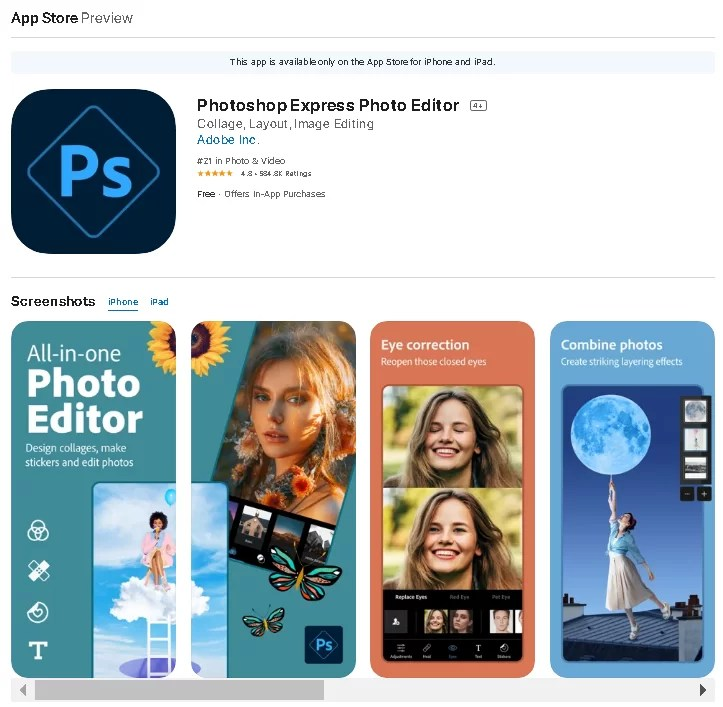 Photoshop Express for Android iOS thekoffeetable 7 Completely Free Adobe Software & Apps