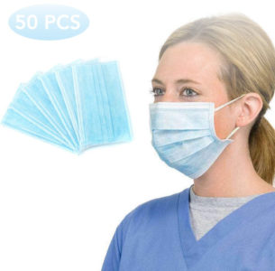 Caxinthy 50 Pcs Disposable 3-Ply Disposable Face Mask
