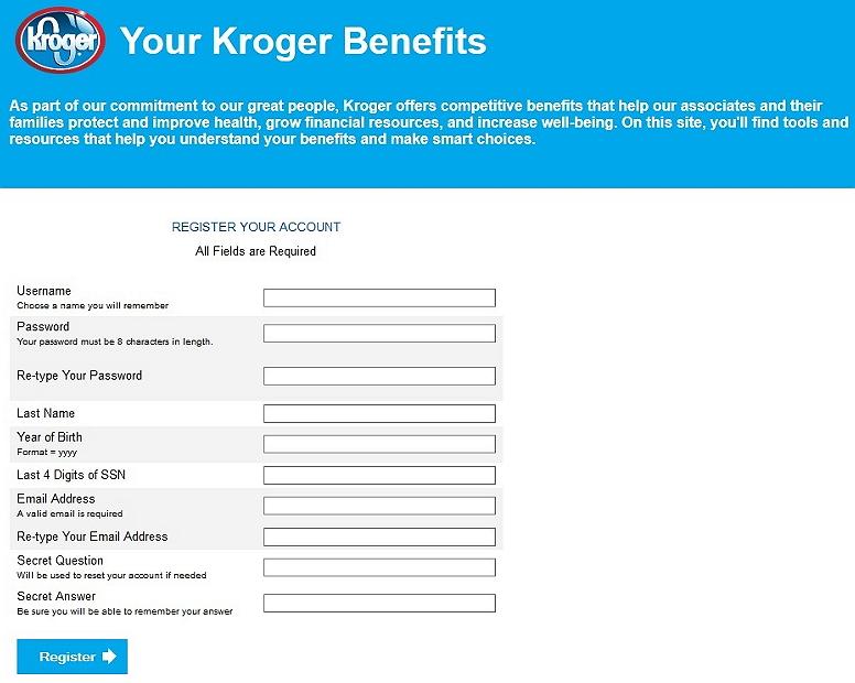 registration page of yourkrogerbenefits.com