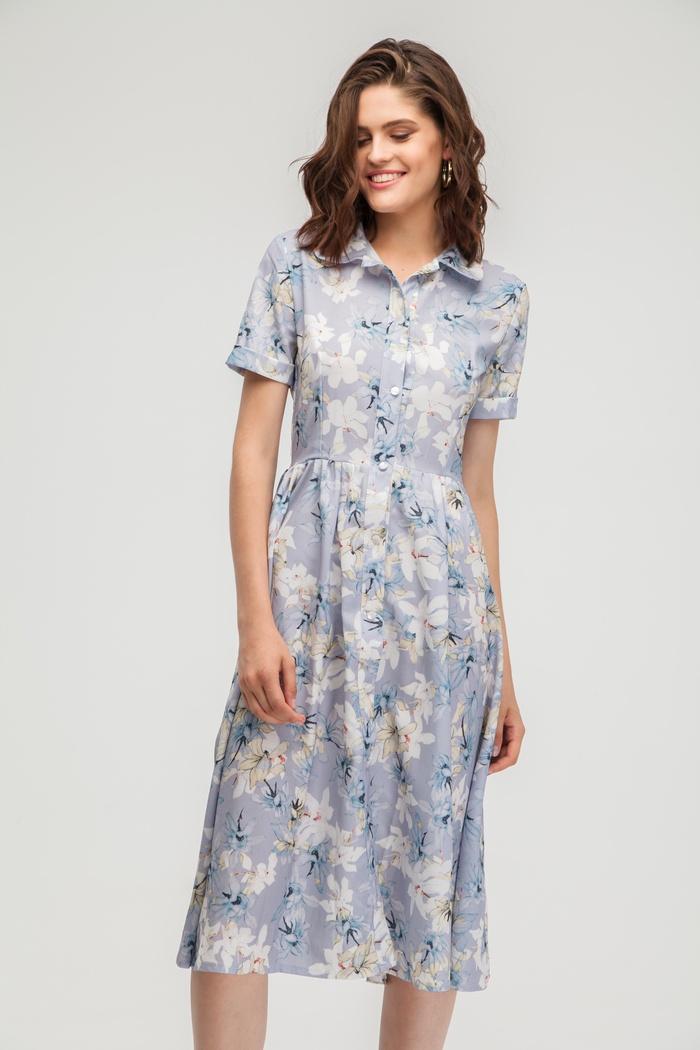 Платье-рубашка миди с цветочным принтом лавандовое - THE LACE