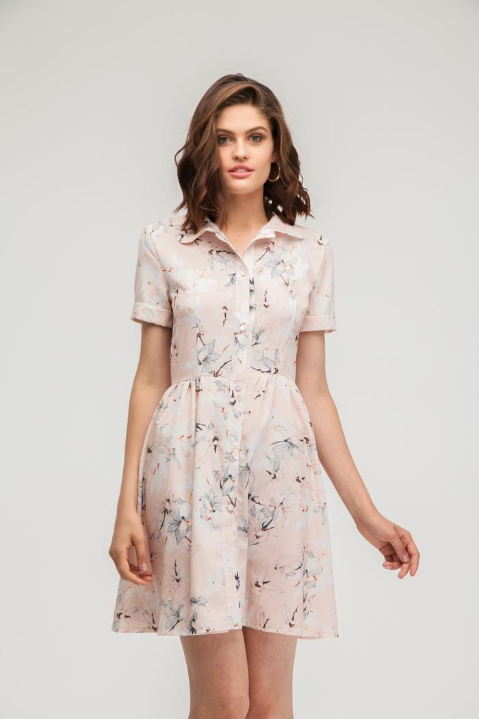Платье-рубашка мини с цветочным принтом ванильное - THE LACE