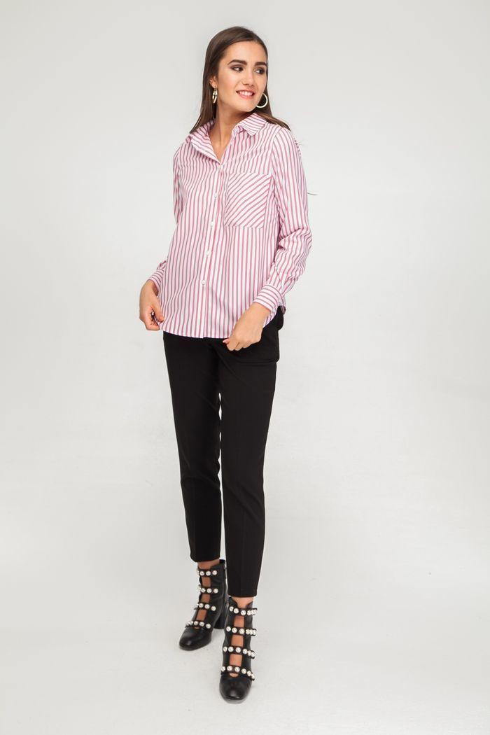 Рубашка в полоску с накладным карманом красно-белая - THE LACE