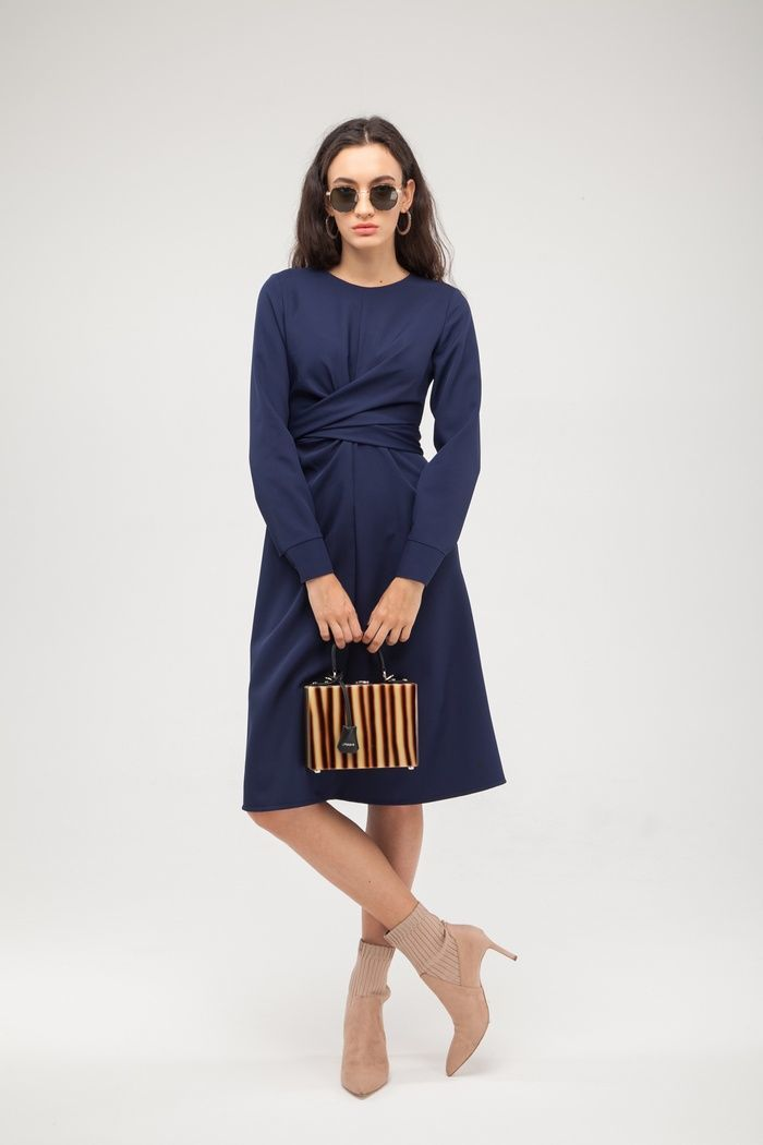Платье с узлом синее - THE LACE