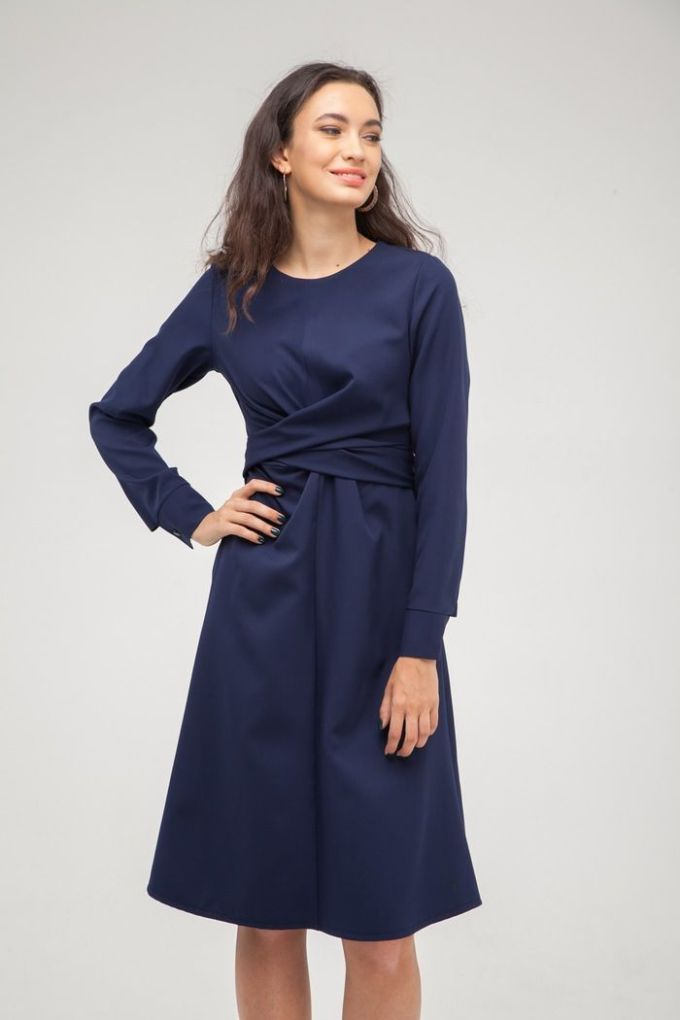 Платье с узлом на талии синее - THE LACE