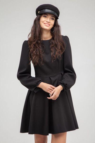 Платье со складкой черное - THE LACE