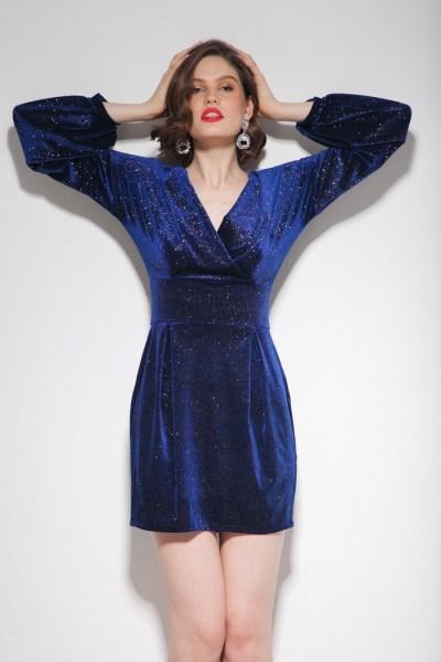 Платье мини с блестками синее - THE LACE