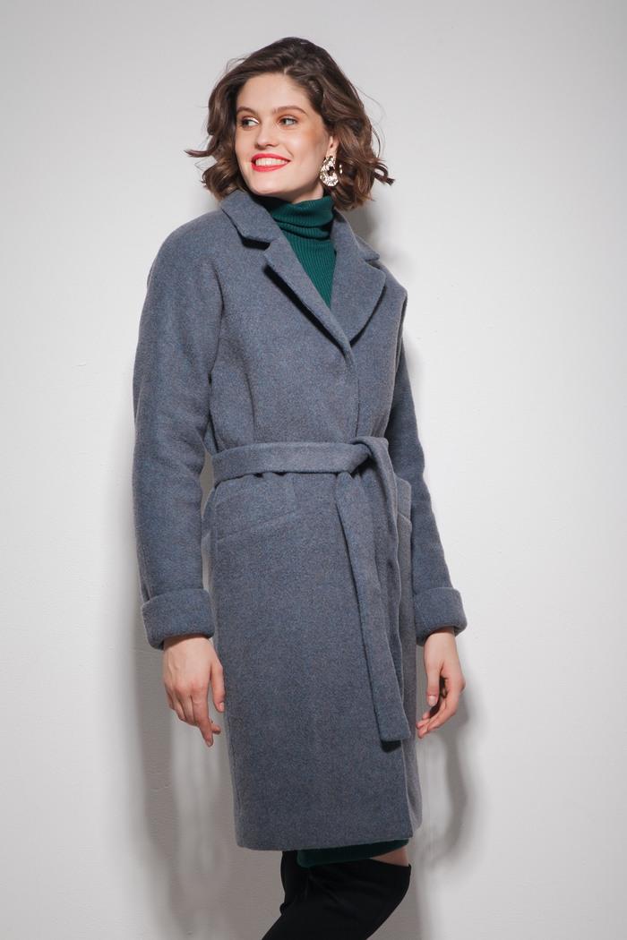 Пальто oversize серо-бирюзовое — THE LACE