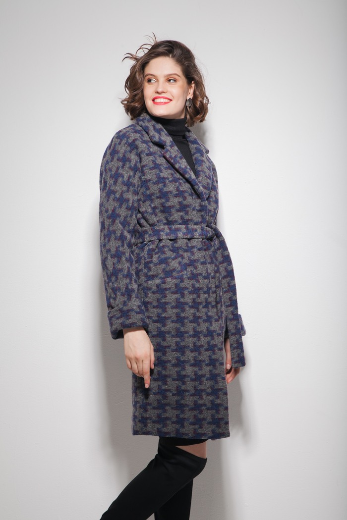 Пальто oversize с орнаментом серое — THE LACE