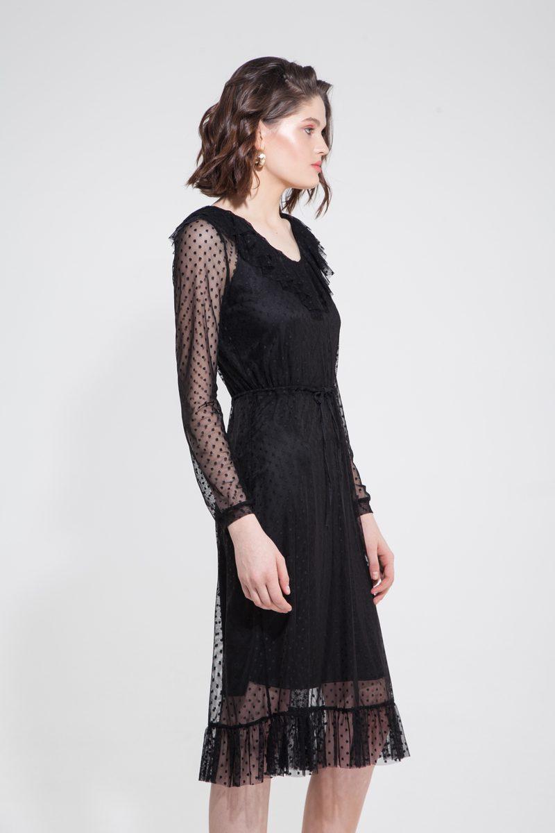 Платье из сетки в горох с воланами черное — THE LACE