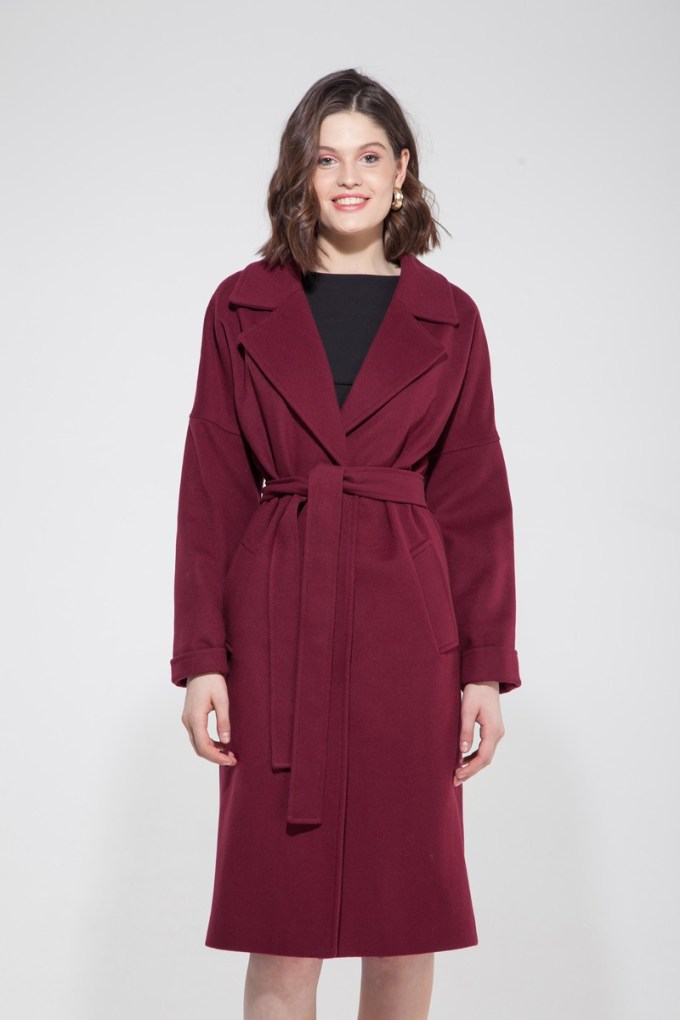 Пальто-халат рубиновое - THE LACE