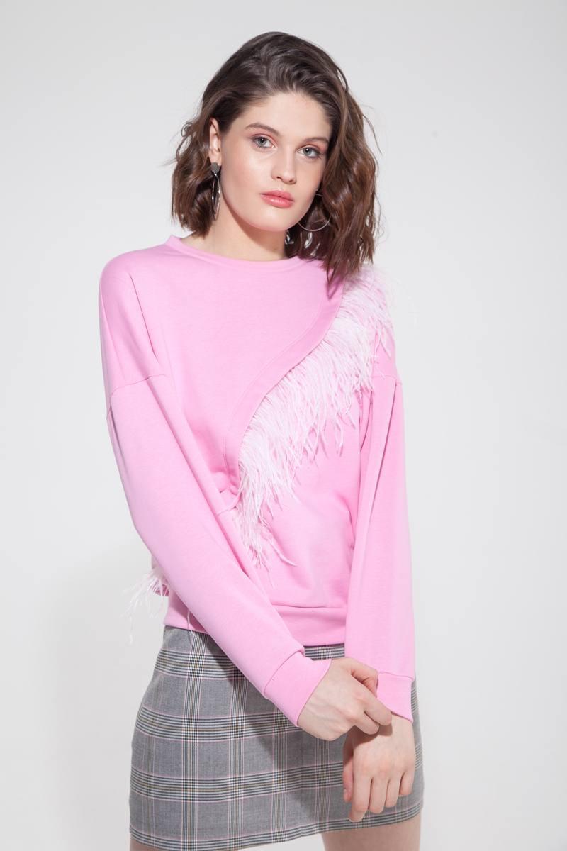 Свитшот с перьями розовый - THE LACE