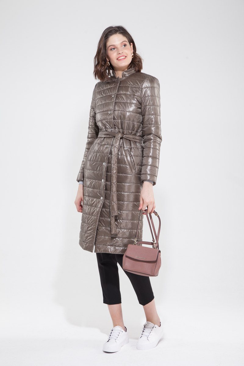 Пальто стёганое оливковое — THE LACE