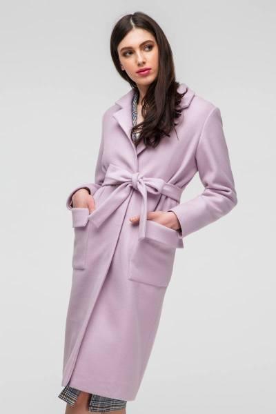 Пальто classic с накладными карманами розовое - THE LACE