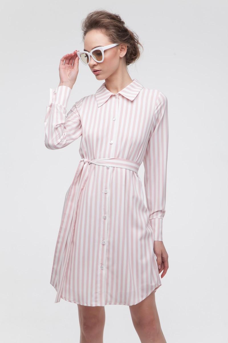 Платье-рубашка в полоску розовое - THE LACE