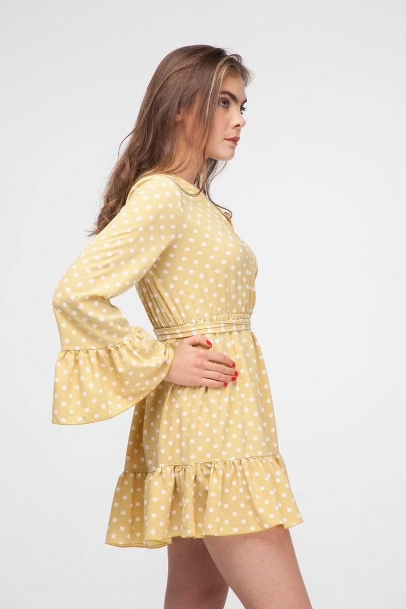 Платье с воланами в горох желтое - THE LACE