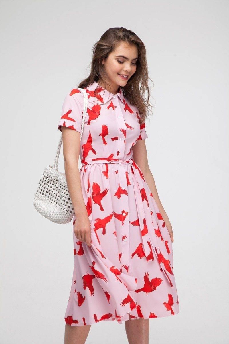 Платье миди с пышной юбкой Bright birds - THE LACE