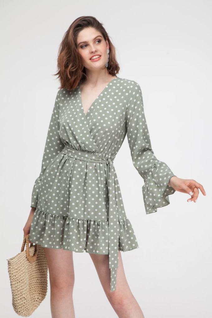 Платье с воланами в горох оливковое - THE LACE