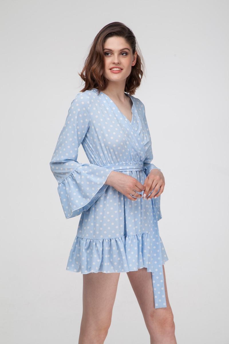 Платье с воланами в горох голубое - THE LACE