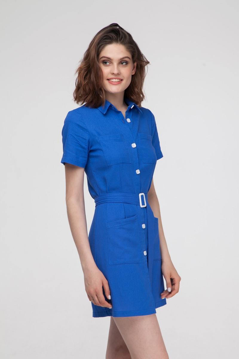 Платье-рубашка из льна ультрамарин - THE LACE
