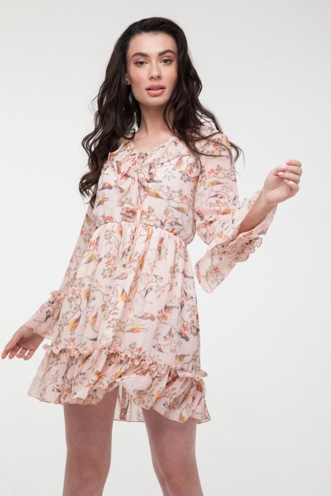 Платье мини с воланами Magic birds