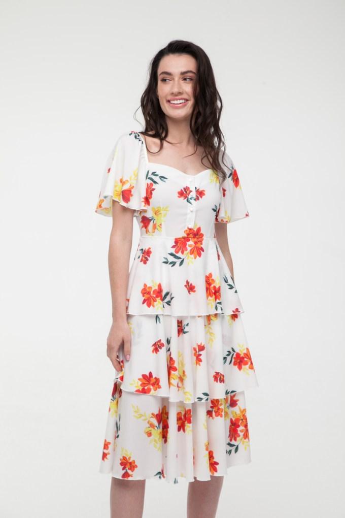 Платье миди белое Petit flor