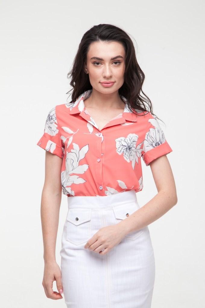 Блуза коралловая Sunny flowers