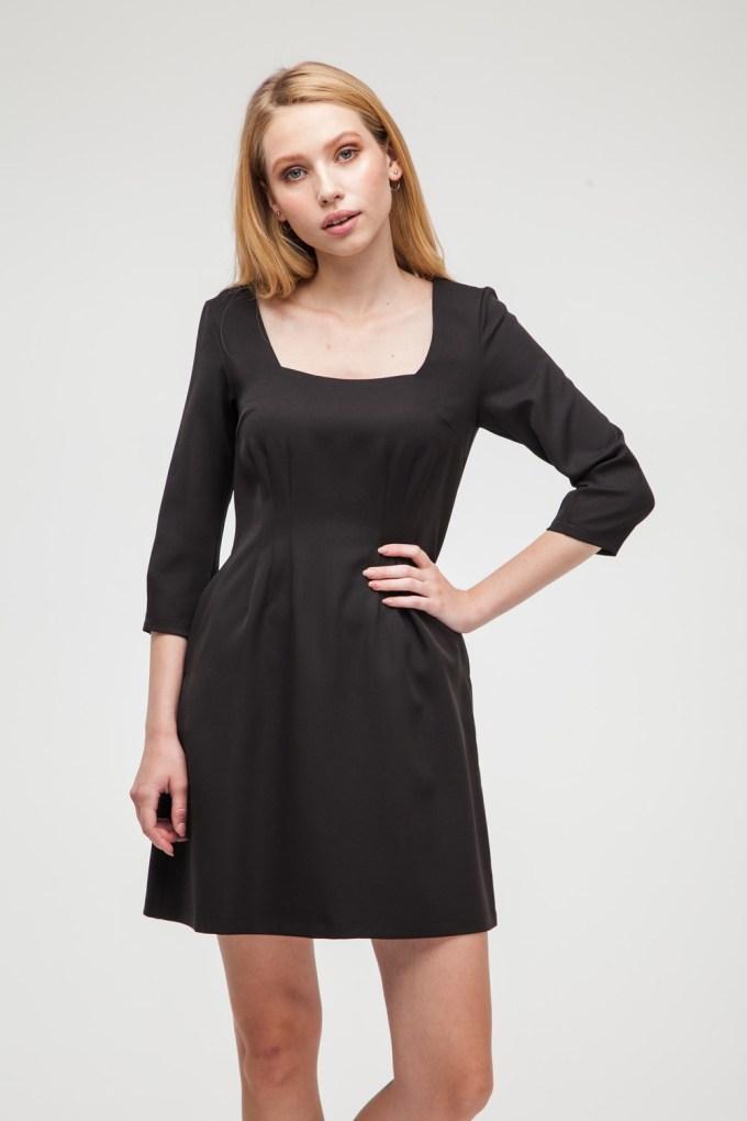 Платье мини с вырезом черное - THE LACE