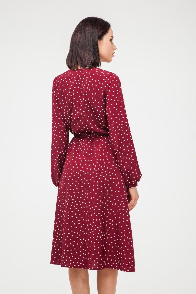 Платье миди на запах с длинным рукавом в горох винное - THE LACE