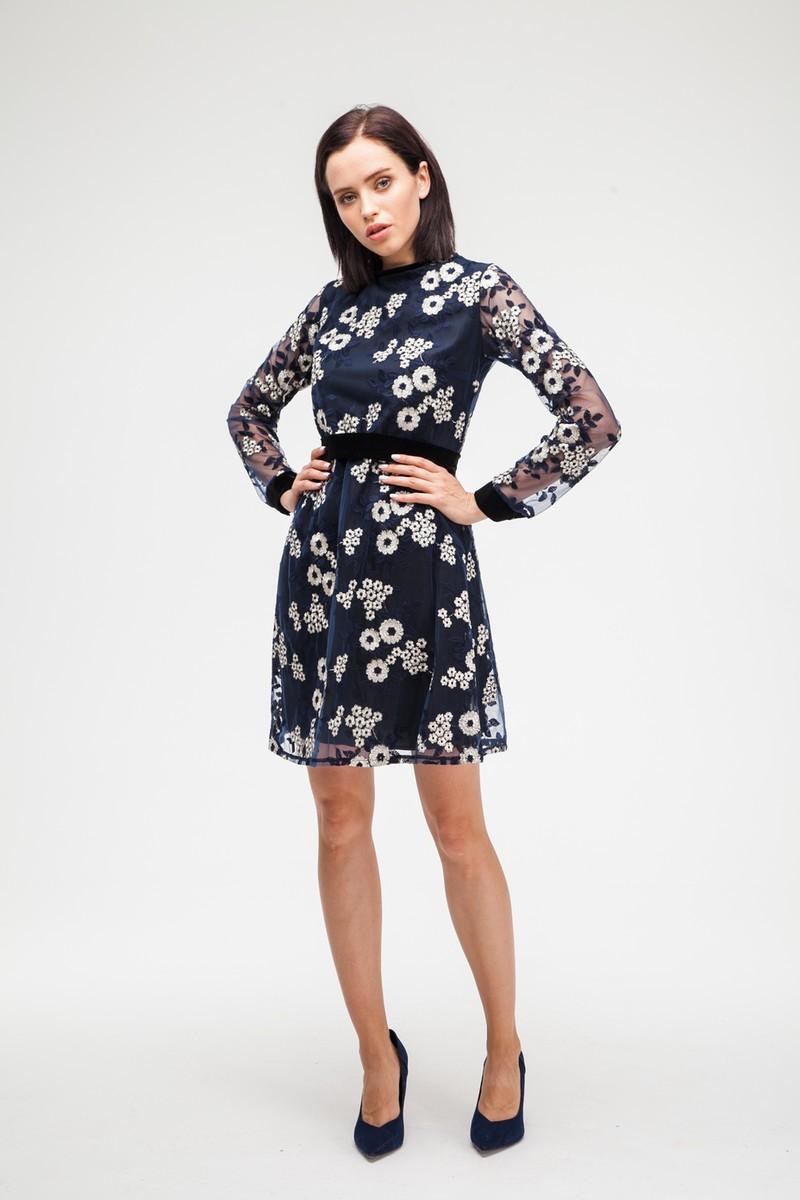 Платье с цветочной вышивкой синее - THE LACE