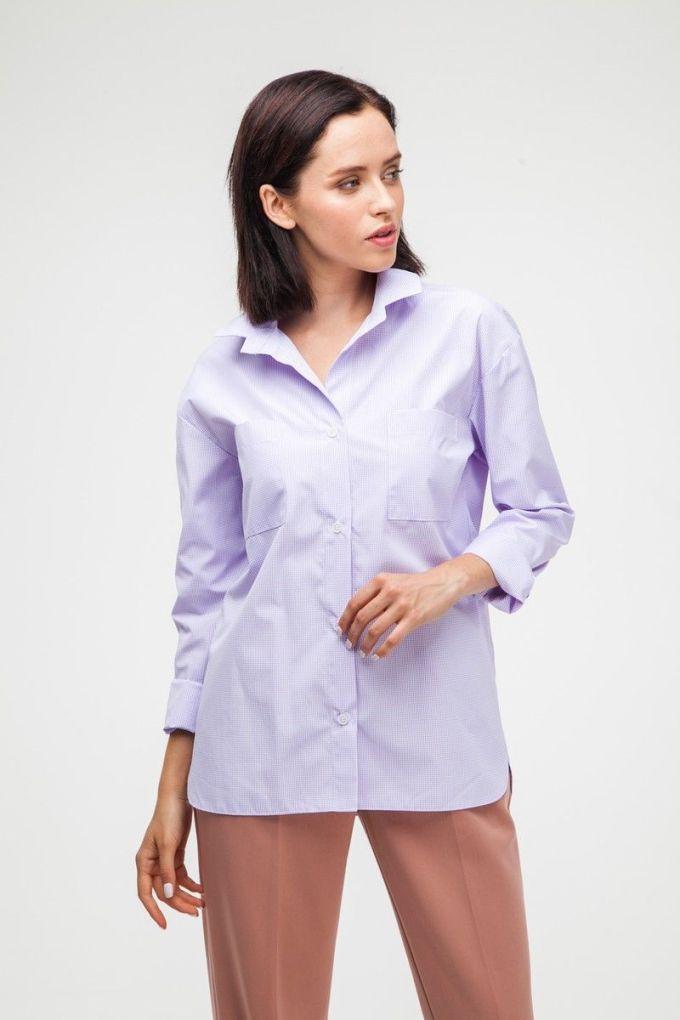 Рубашка oversize в клетку фиолетовая - THE LACE