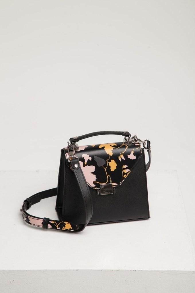 Сумка кожаная Alba mini черная с цветочным узором - THE LACE