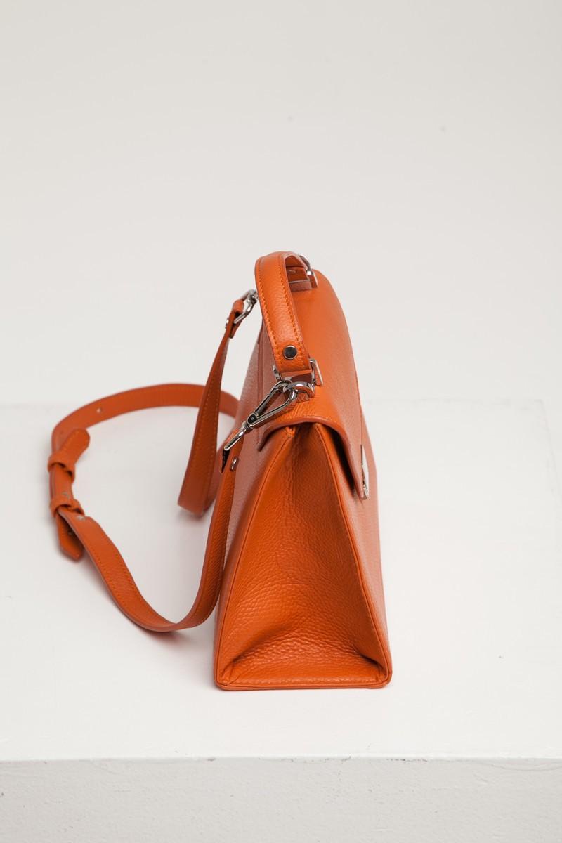 Сумка кожаная Alba апельсиновая - THE LACE