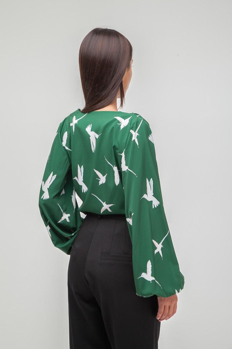 Блуза на запах Colibri изумрудная - THE LACE