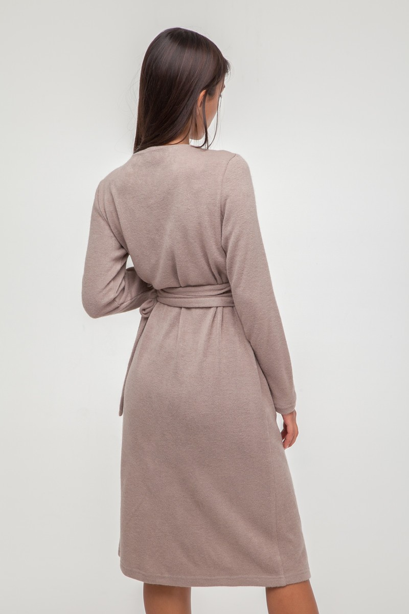 Платье из ангоры на запах бежевое - THE LACE