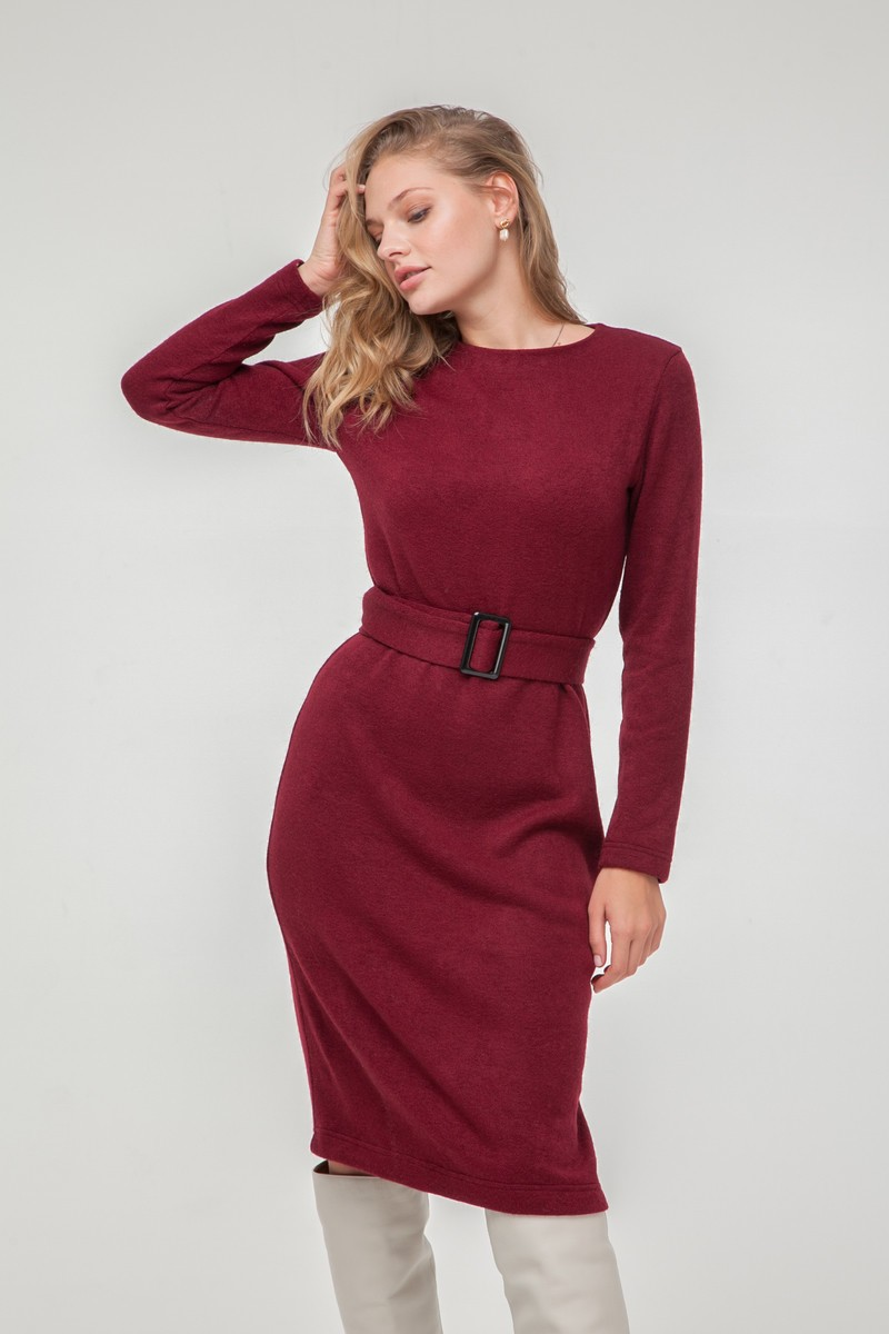 Платье из ангоры с поясом винное - THE LACE
