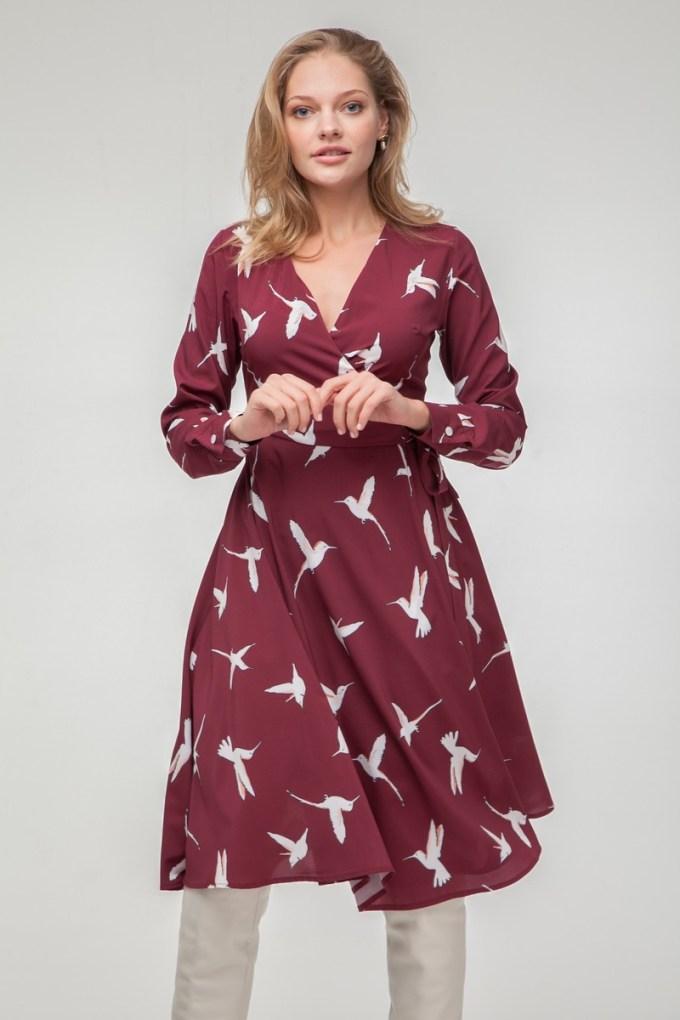 Платье миди на запах Colibri винное - THE LACE
