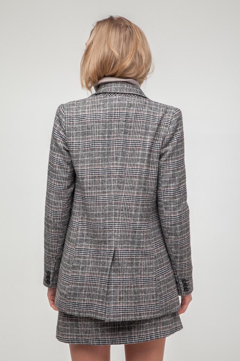 Шерстяной костюм с юбкой в клетку серый - THE LACE