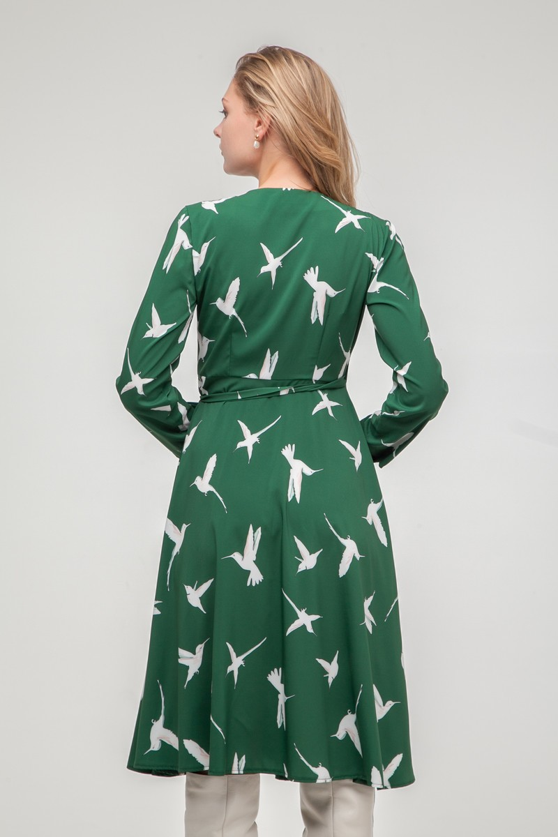Платье миди на запах Colibri изумрудное - THE LACE
