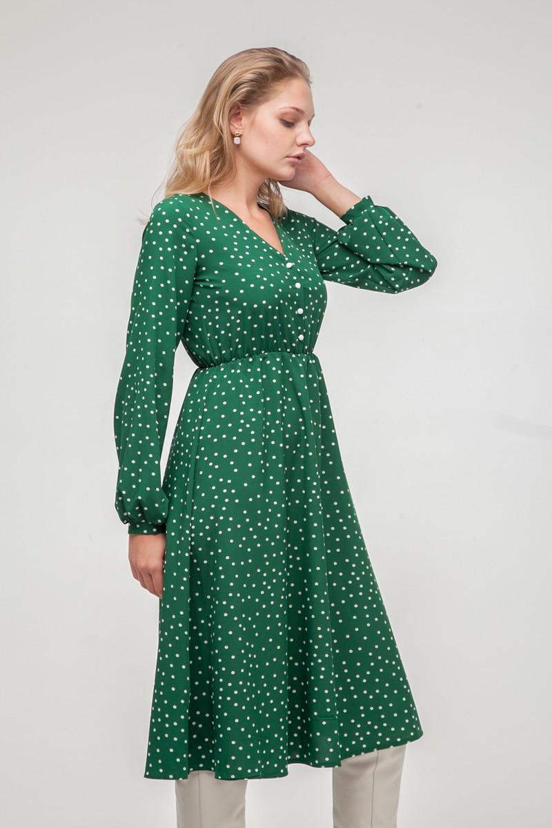 Платье миди с пуговицами в горох изумрудное - THE LACE