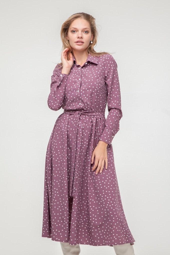 Платье-рубашка миди в горох лиловое - THE LACE
