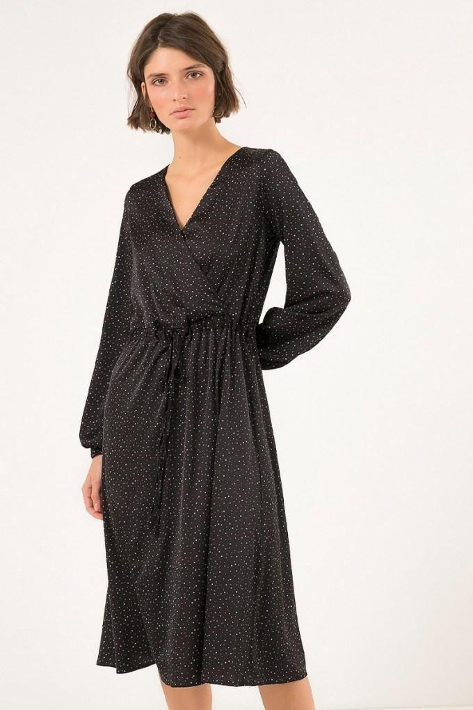 Платье миди с вырезом черное - THE LACE