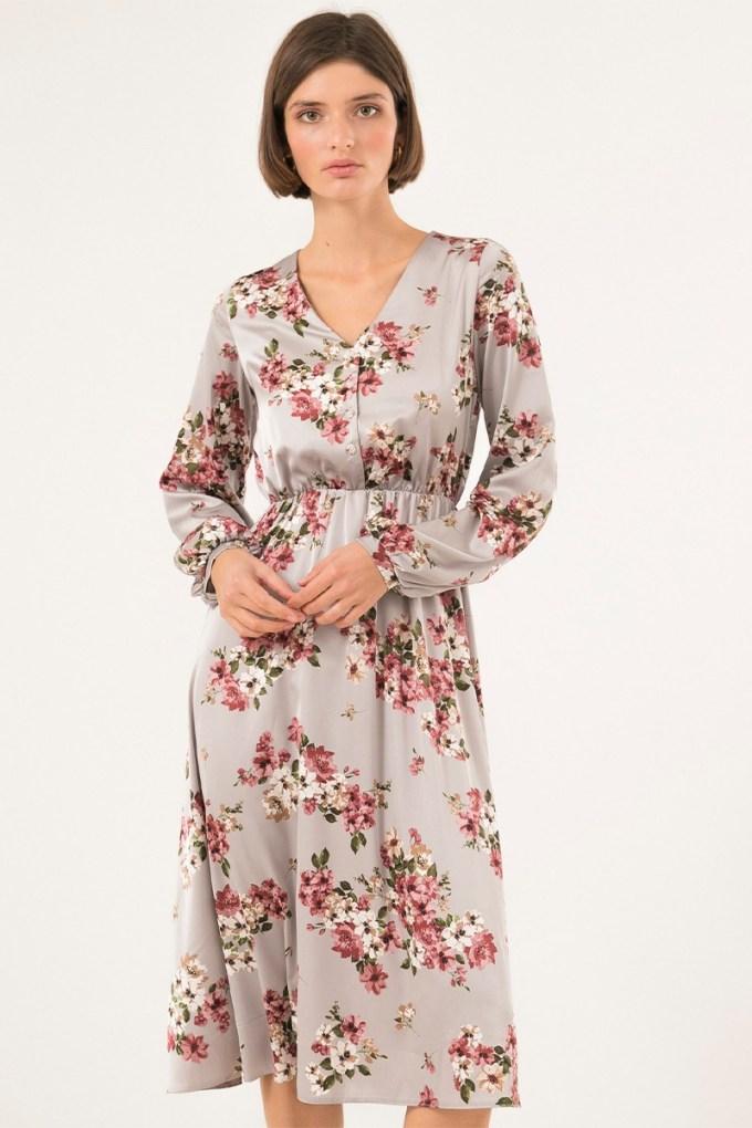 Платье миди с пуговицами серое Floral mood - THE LACE
