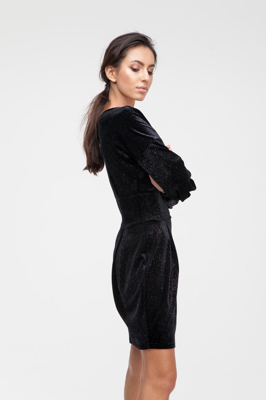 Платье мини с блеском черное - THE LACE